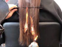 В Индии парикмахер использует весьма неординарный метод стрижки