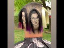 Мужчина выбрил на голове лица всех сестер Кардашьян