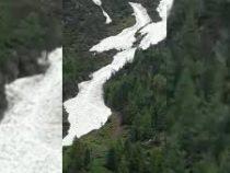 Снежная река сошла с гор в Австрии