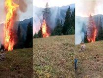 На Иссык-Куле более 160 человек тушат пожар на склоне горы