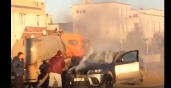В Самаре на ходу загорелся BMW X6. Тушить его пришлось фекалиями