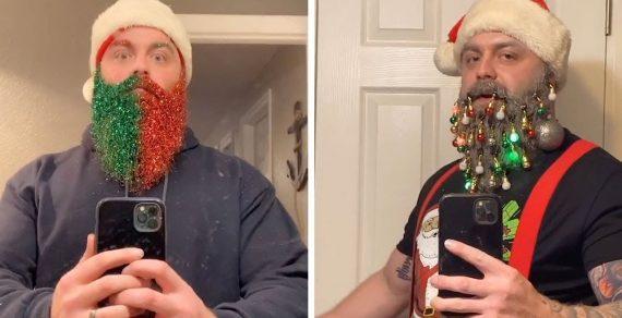 Чтобы создать себе праздничное настроение, чудак украшает бороду