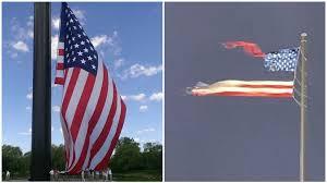 Молния разорвала пополам самый большой флаг США