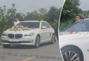 Забывчивому жениху и его друзьям пришлось толкать машину