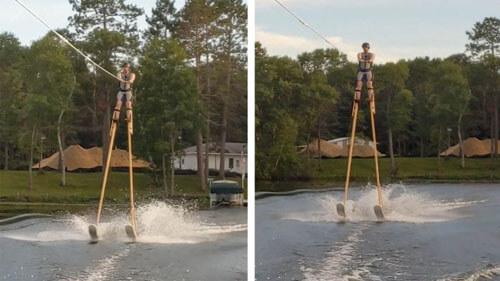 Трюкач, прокатившийся на водных лыжах на ходулях, уверен, что побил мировой рекорд