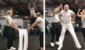 Трюкач показал способ надевать брюки, подходящий далеко не для всех