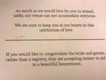 Жених с невестой, не пригласившие гостей, всё равно пожелали получить с них деньги