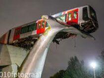 Скульптура спасла поезд метро от падения в воду в Нидерландах