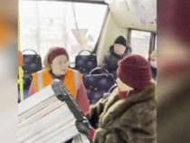 В Петербурге женщина пыталась затащить в троллейбус скамейку. Парковую!