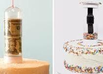 С помощью подставки виновник торжества получит не только торт, но и подарок