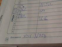 «Хочу жрать и домой» Первоклассник использует школьный дневник как личный