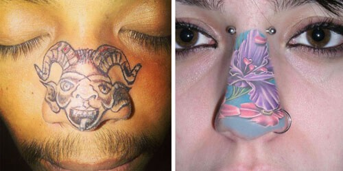 Чтобы не отстать от новой причудливой моды, люди татуируют себе носы