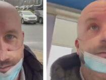 Чудак в странной защитной маске вызывает у людей неоднозначную реакцию