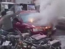 Табуретка пригодилась для тушения загоревшейся машины