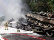 Огненное ДТП с танками произошло в Польше из-за девушки в беде