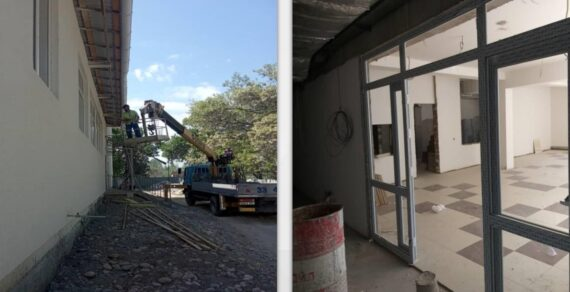 В селе Озерное продолжается строительство новой школы
