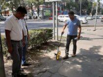 В Бишкеке начат ремонт тротуаров на улице Киевской
